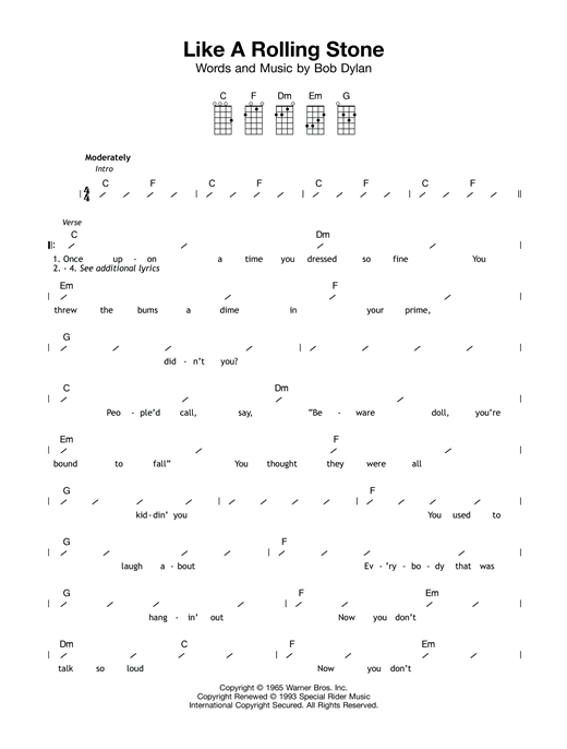 Like A Rolling Stone sheet music by Bob Dylan (Ukulele with ...