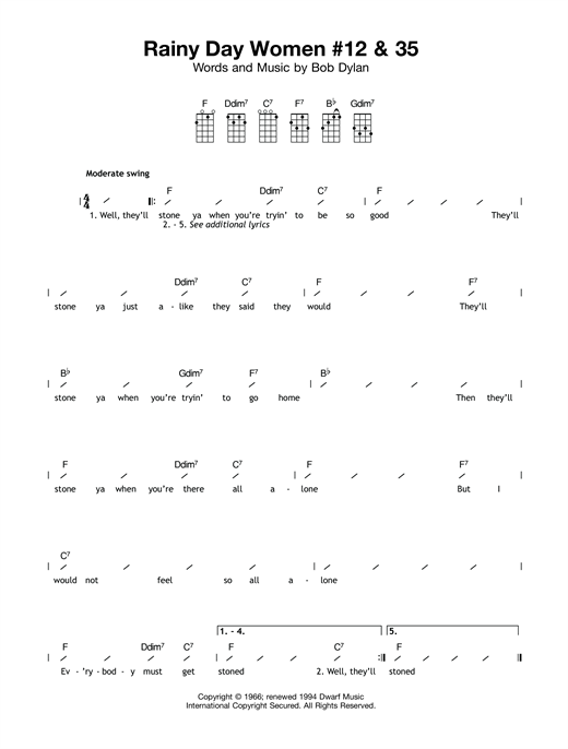 Tablature guitare Rainy Day Women #12 & #35 de Bob Dylan - Ukulele (strumming patterns)