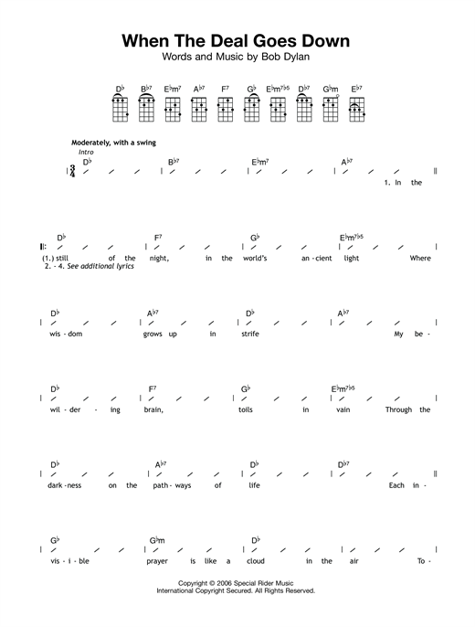 Tablature guitare When The Deal Goes Go Down de Bob Dylan - Ukulele (strumming patterns)