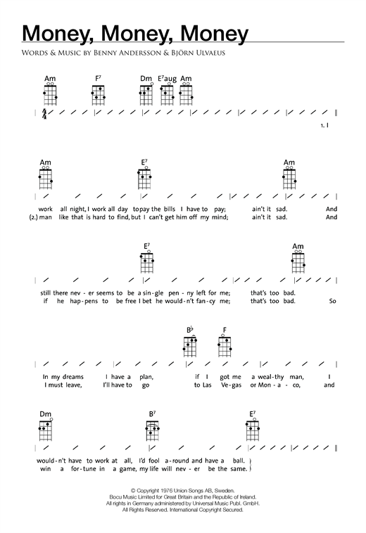 Tablature guitare Money, Money, Money de ABBA - Ukulele (strumming patterns)