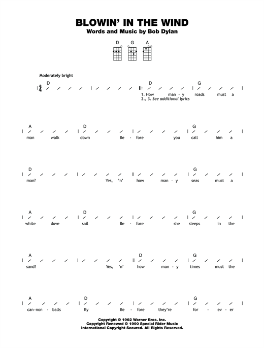 Tablature guitare Blowin' In The Wind de Bob Dylan - Ukulele (strumming patterns)