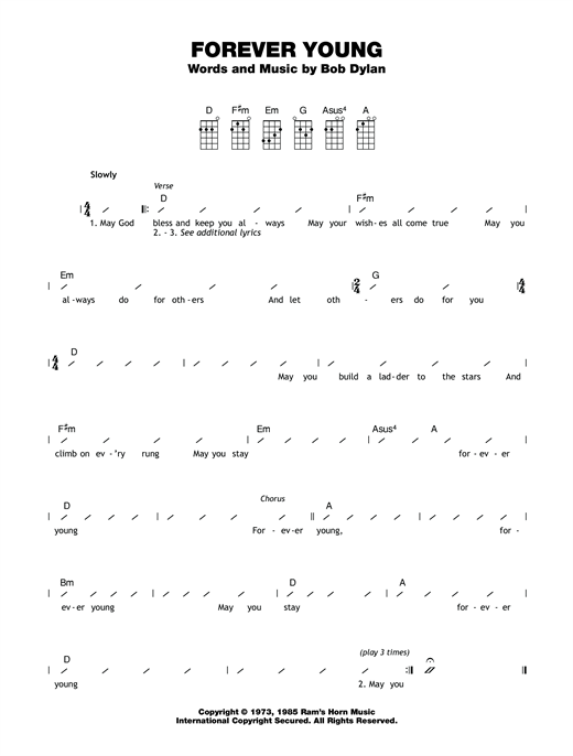 Tablature guitare Forever Young de Bob Dylan - Ukulele (strumming patterns)
