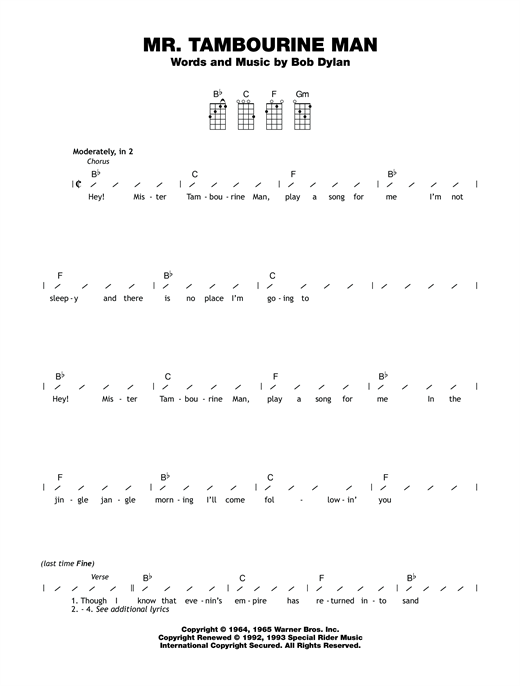Tablature guitare Mr. Tambourine Man de Bob Dylan - Ukulele (strumming patterns)
