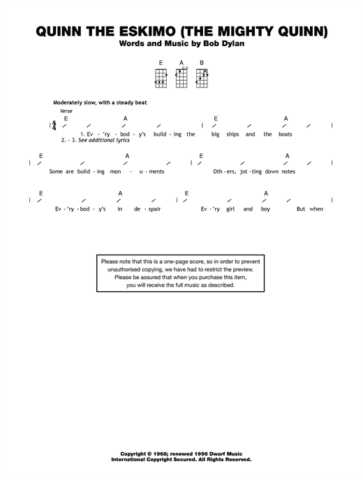 Tablature guitare Quinn The Eskimo (The Mighty Quinn) de Bob Dylan - Ukulele (strumming patterns)