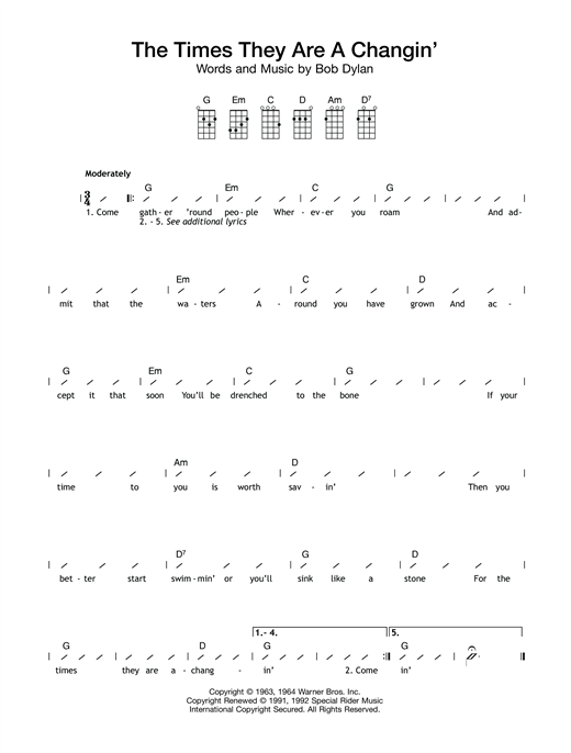 The Times They Are A-Changin' (Ukulele with Strumming Patterns)