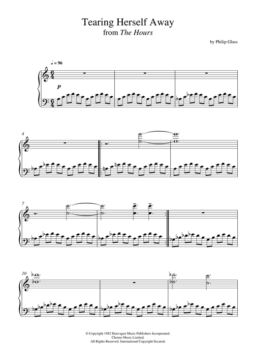 Partition piano Tearing Herself Away (from 'The Hours') de Philip Glass - Piano Solo