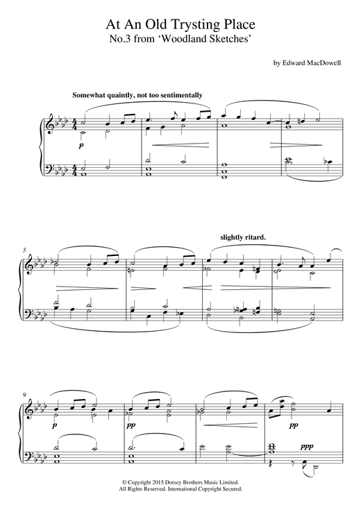 Partition piano At An Old Trysting Place (10 Woodland Sketches, Op.51, No.3) de Edward MacDowell - Piano Solo