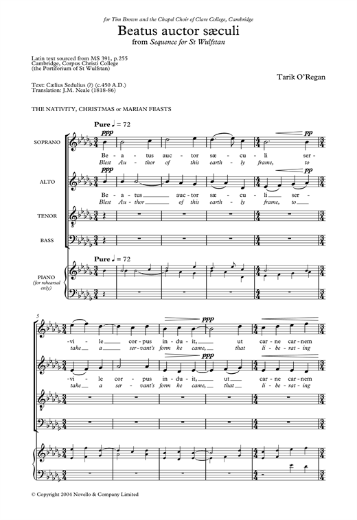 Beatus Auctor Saeculi (From Sequence for St Wulfstan) Sheet Music