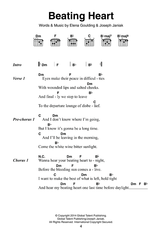 Beating Heart Sheet Music By Ellie Goulding Lyrics Chords 120781