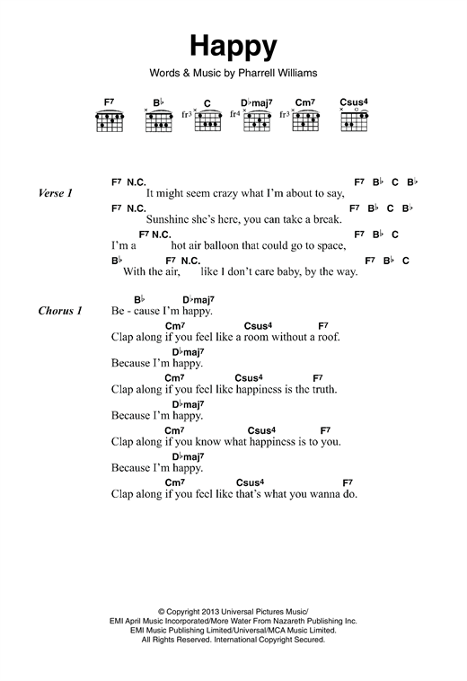Happy (Guitar Chords/Lyrics) - Print Sheet Music Now