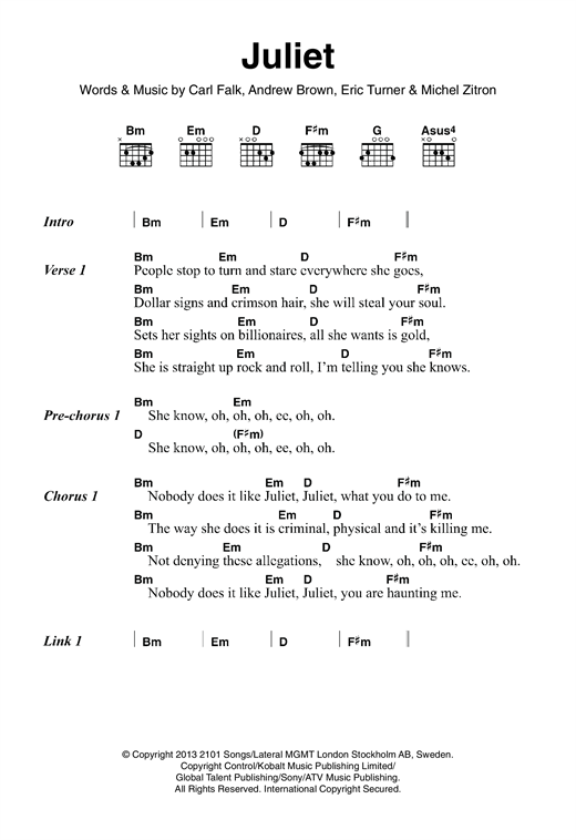 Juliet Sheet Music By Lawson Lyrics Chords 120787