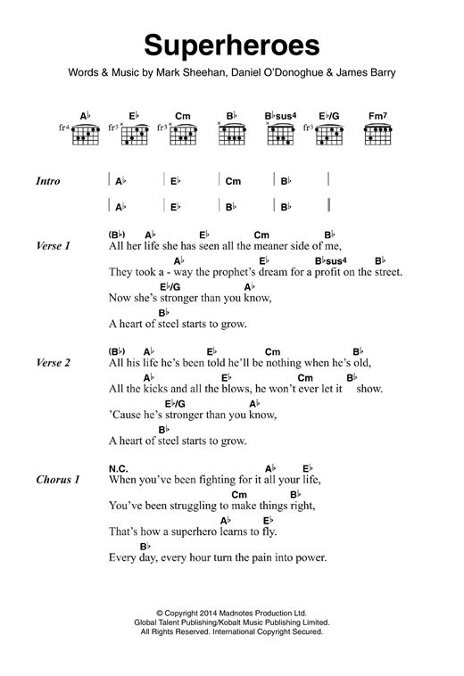 Superheroes (Guitar Chords/Lyrics)