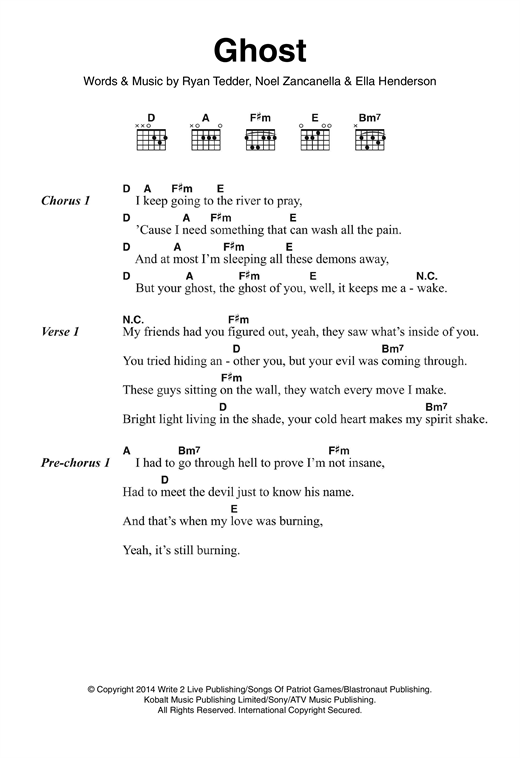 Ghost Sheet Music By Ella Henderson Lyrics Chords 120857