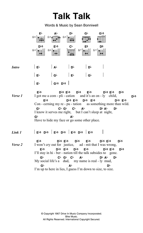 Talk Talk Sheet Music
