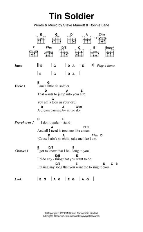 Tin Soldier sheet music by Small Faces (Lyrics & Chords – 120876)