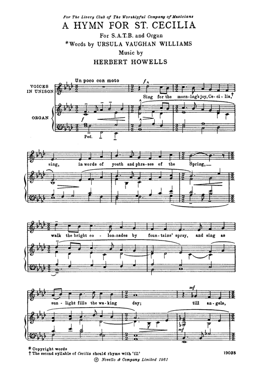 A Hymn For St Cecilia Choral SATB sheet music by by Herbert Howells ...