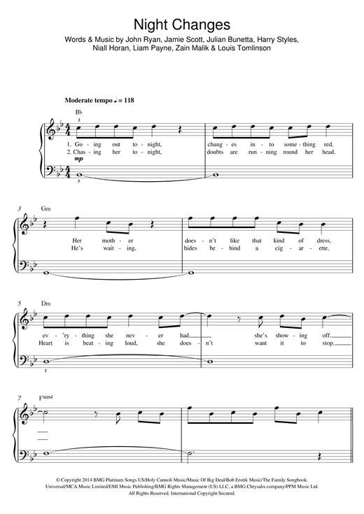 Night changes guitar tabs
