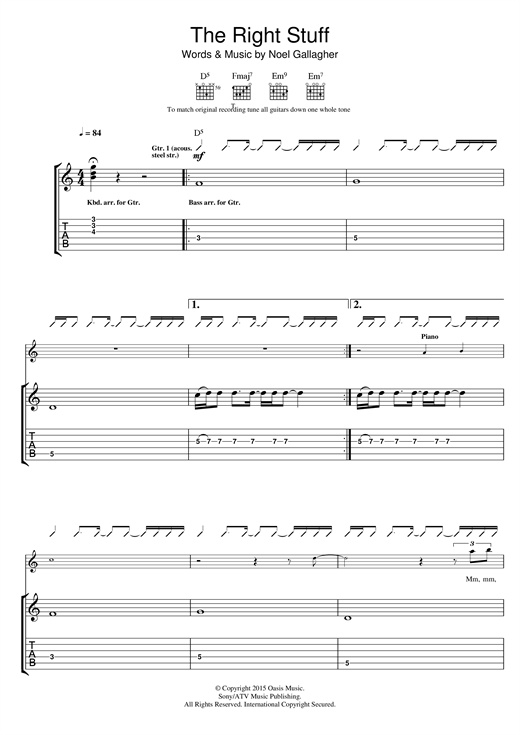 Tablature guitare The Right Stuff de Noel Gallagher's High Flying Birds - Tablature Guitare