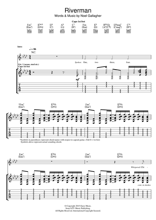 Tablature guitare Riverman de Noel Gallagher's High Flying Birds - Tablature Guitare