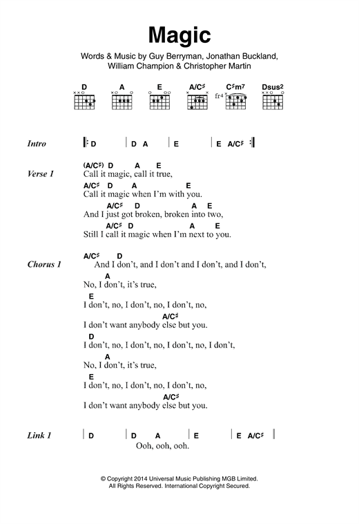 Magic sheet music by Coldplay (Lyrics & Chords – 120917)