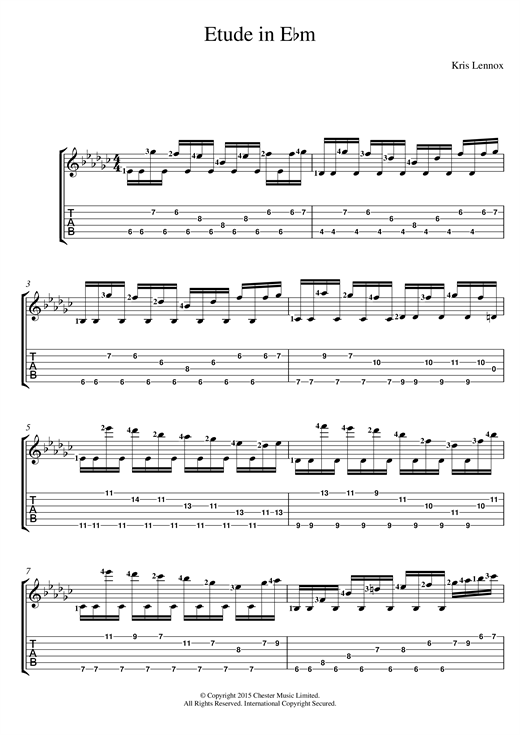 Tablature guitare Etude In E flat minor de Kris Lennox - Tablature Guitare