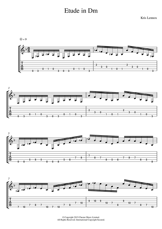 Tablature guitare Etude In Dm de Kris Lennox - Tablature Guitare