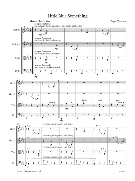 Partition orchestre Little Blue Something (String quartet score & parts) de Bryce Dessner - Orchestre de chambre