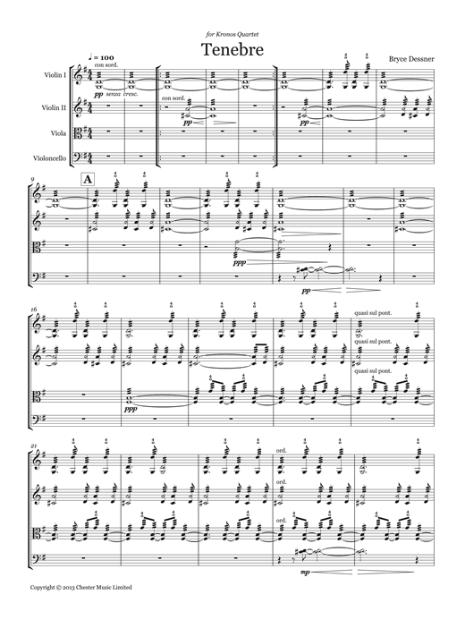 page one of Tenebre (String quartet score & parts)ASALTTEXT