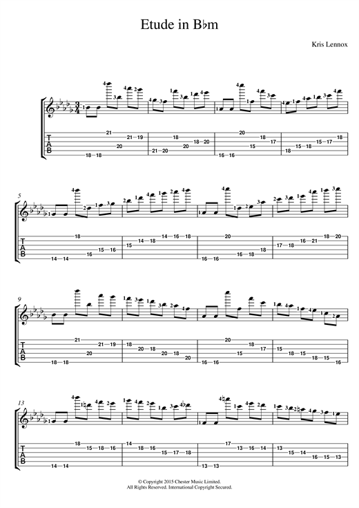 Tablature guitare Etude In B Flat Minor de Kris Lennox - Tablature Guitare