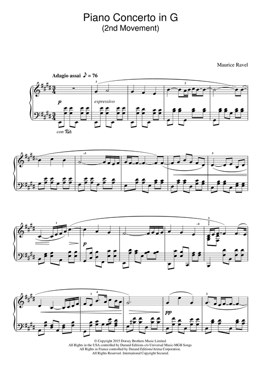 Piano Concerto In G, 2nd Movement 'Adagio Assai' Sheet Music