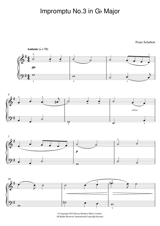 Impromptu No. 3 in G Flat Major, Op.90 Sheet Music