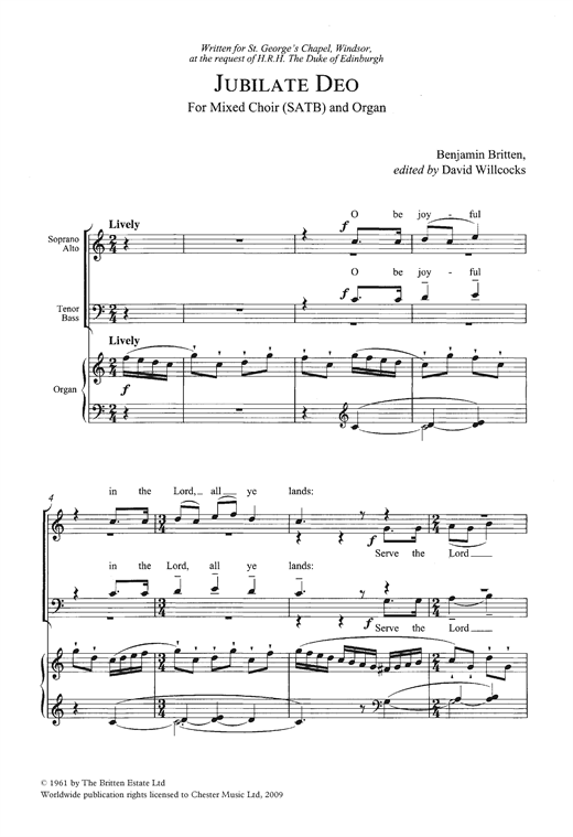 Partition chorale Jubilate Deo In C Major de Benjamin Britten - SATB