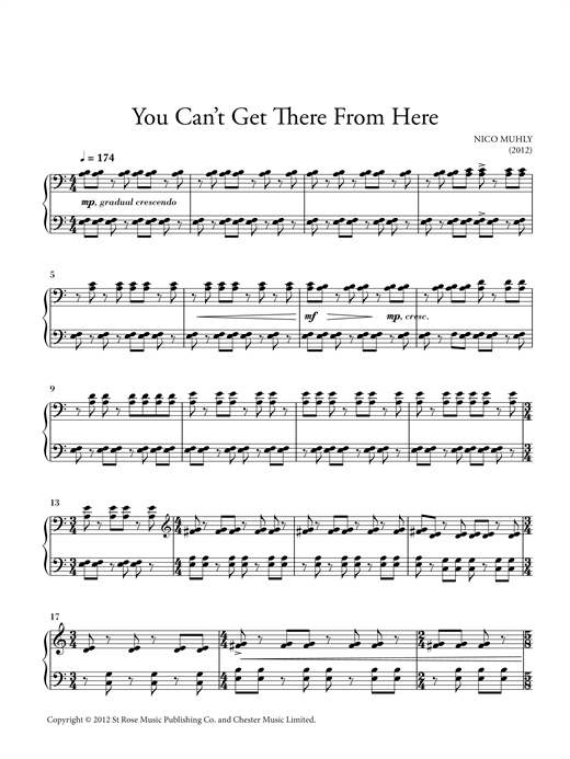 Partition piano You Can't Get There From Here de Nico Muhly - Piano Solo