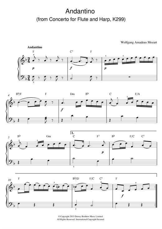 Partition piano Andantino (from Concerto for Flute and Harp, K299) de Wolfgang Amadeus Mozart - Piano Facile