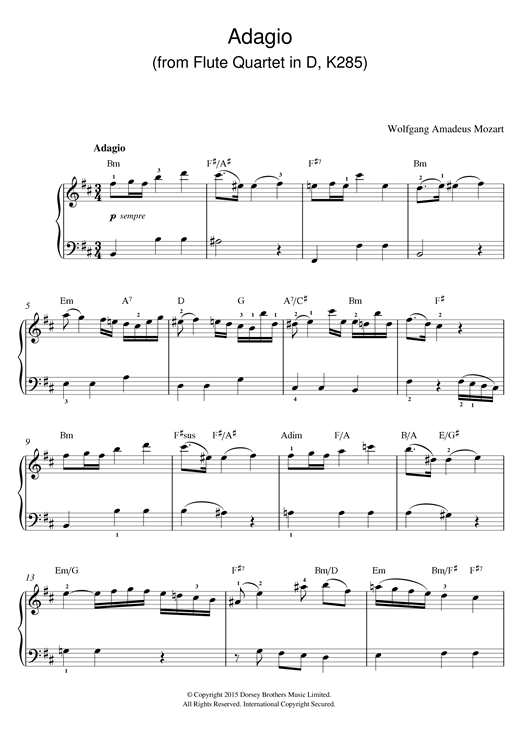 Adagio (from Flute Quartet In D, K285) Sheet Music