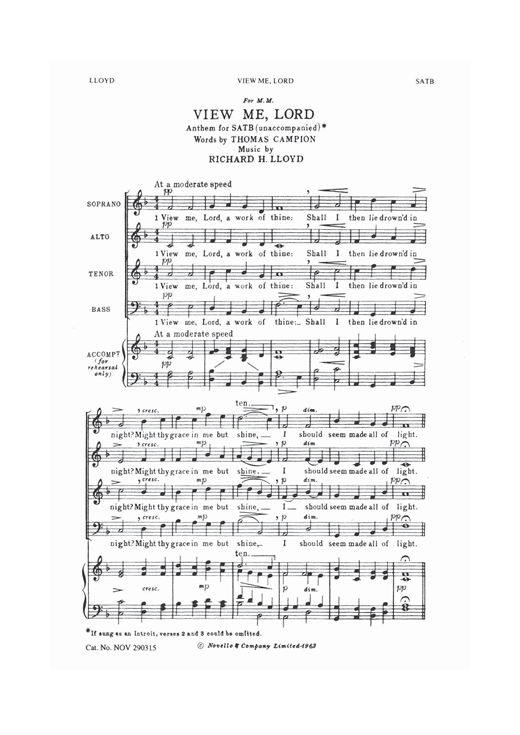 View Me Lord Sheet Music