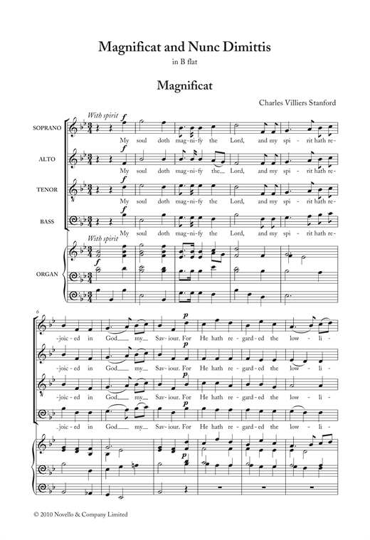 Magnificat And Nunc Dimittis In B Flat Sheet Music