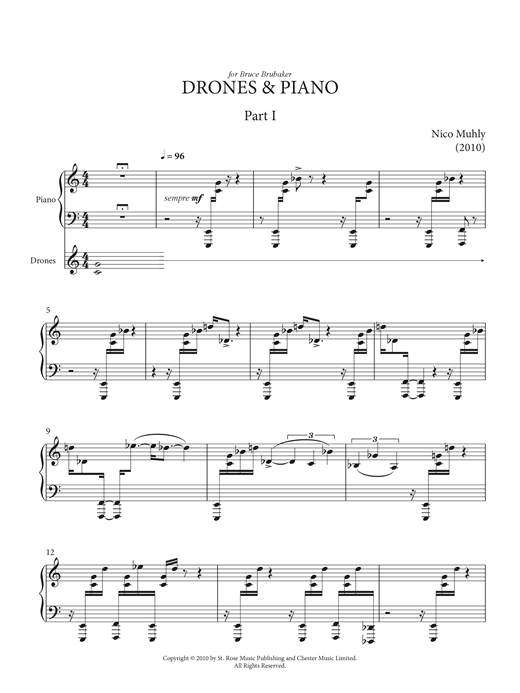Partition piano Drones And Piano de Nico Muhly - Piano Solo