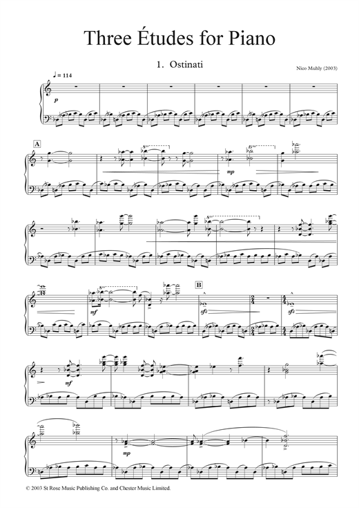 Partition piano Three Etudes for Piano de Nico Muhly - Piano Solo