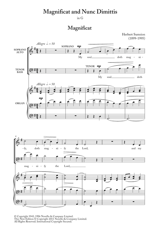 Partition chorale Magnificat And Nunc Dimittis In G de  - SATB