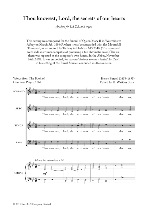 Thou Knowest, Lord, The Secrets Of Our Hearts Sheet Music
