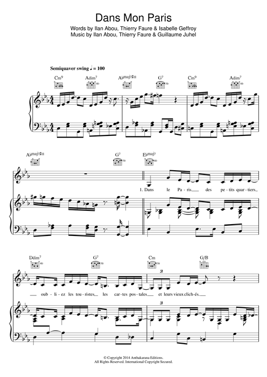 Dans Mon Paris (Swing Manouche Version) Sheet Music