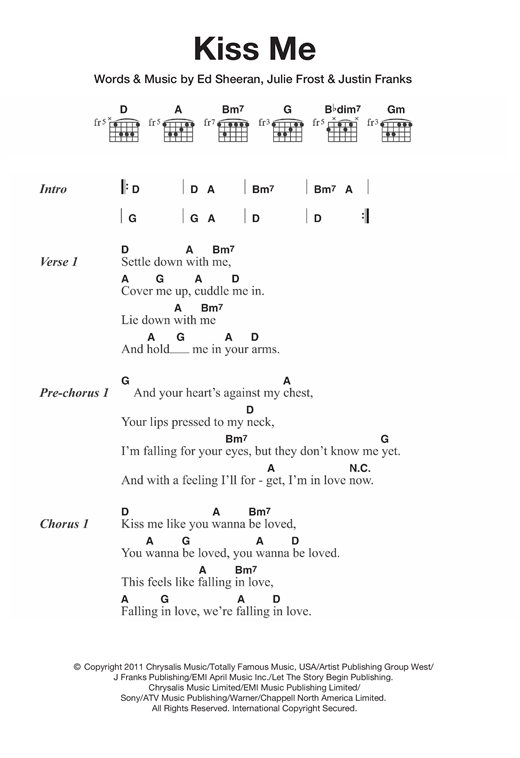 Kiss Me sheet music by Ed Sheeran (Lyrics u0026 Chords u2013 121039)