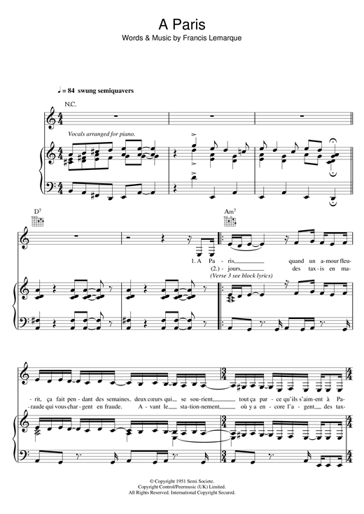 A Paris Sheet Music