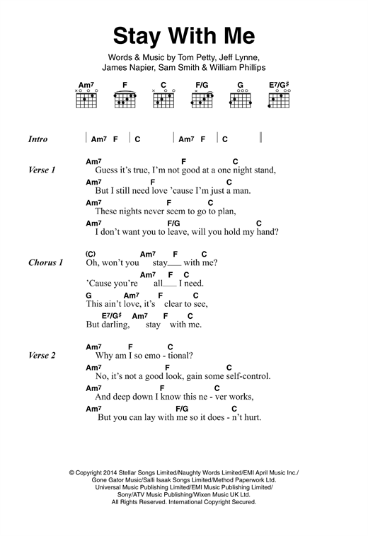 Stay With Me Sheet Music By Sam Smith Lyrics Chords 121067