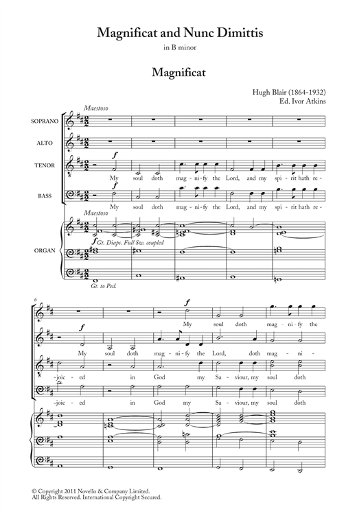 Magnificat And Nunc Dimittis In B Minor Sheet Music