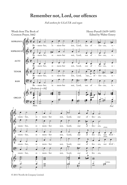 Remember Not, Lord, Our Offences Sheet Music
