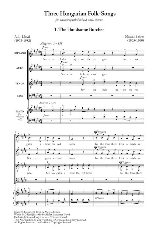 Three Hungarian Folk Songs Sheet Music