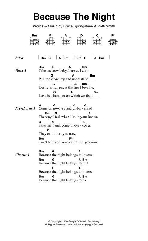Because The Night (Guitar Chords/Lyrics)