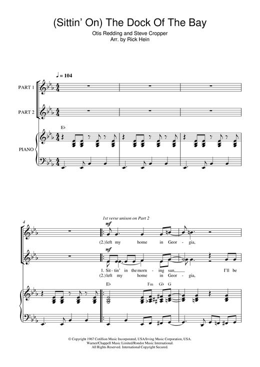 (Sittin' On) The Dock Of The Bay (arr. Rick Hein) Sheet Music